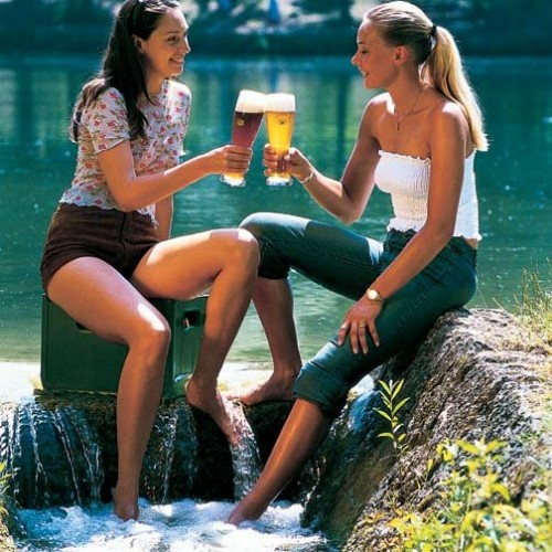 Hotties drinking a beer